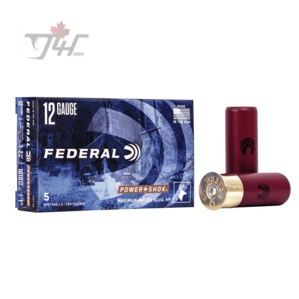 Federal Power-shok 12Gauge Rified Slug HP 2-3/4inch 1oz. Maximum 100rds