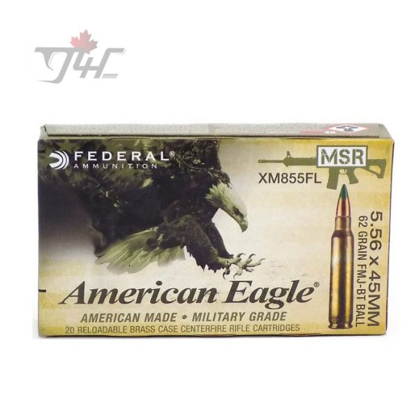 Fed. American Eagle 5.56x45mm MSR 62gr. FMJ-BT BALL 20rds