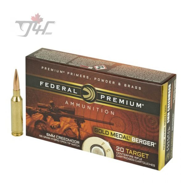 Federal Gold Medal Berger 6mm Creedmoor 105gr. Hybrid Open Tip Match 20rds