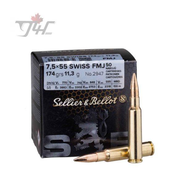 Sellier & Bellot 7.5x55mm Swiss 174gr. FMJ 50rds