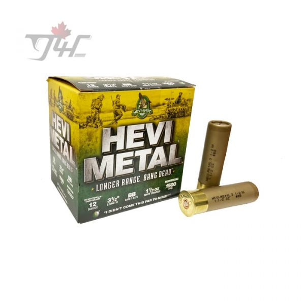 "Hevi-Shot Hevi-Metal Longer Range 12Gauge 3-1/2"" #BB 1-1/2oz 1500FPS Shot 25rds"