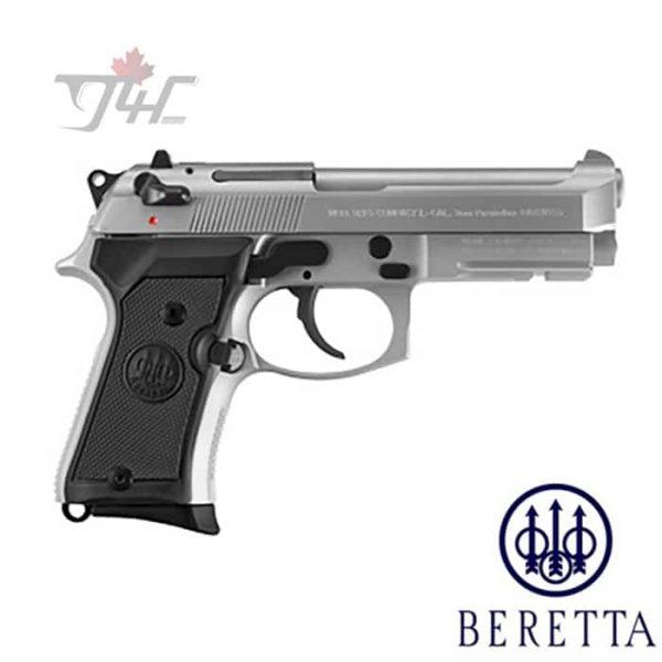 "Beretta 92FS Compact 9mm 4.25"" BRL 3 Dot/ Inox w/Rail Stainless"