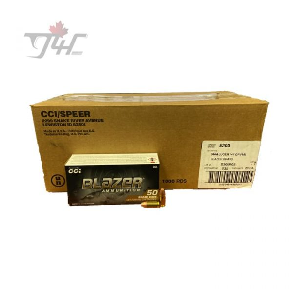 CCI Blazer-Brass 9mm Luger 147gr. FMJ 1000rds