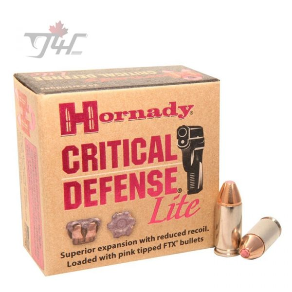 Hornady Critical Defense Lite 9mm 100gr. FTX 250rds